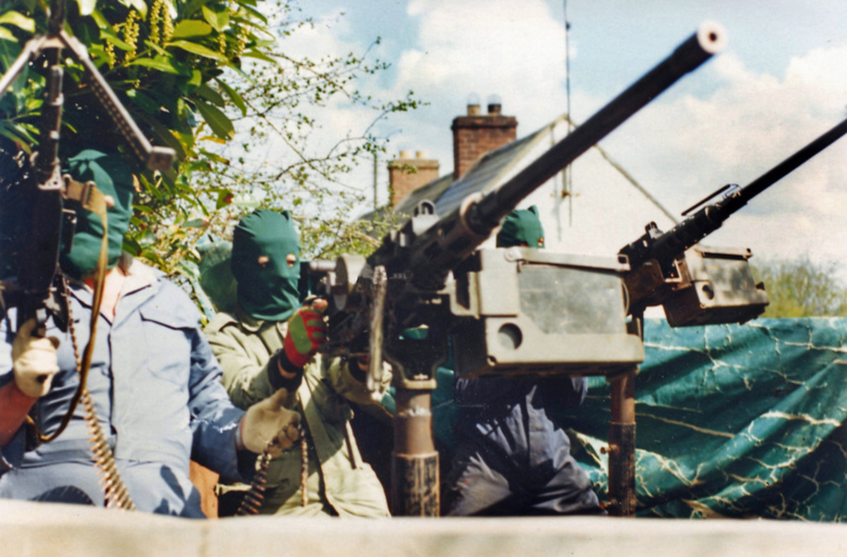 IRA in South Armagh awaiting a target with heavy machine guns