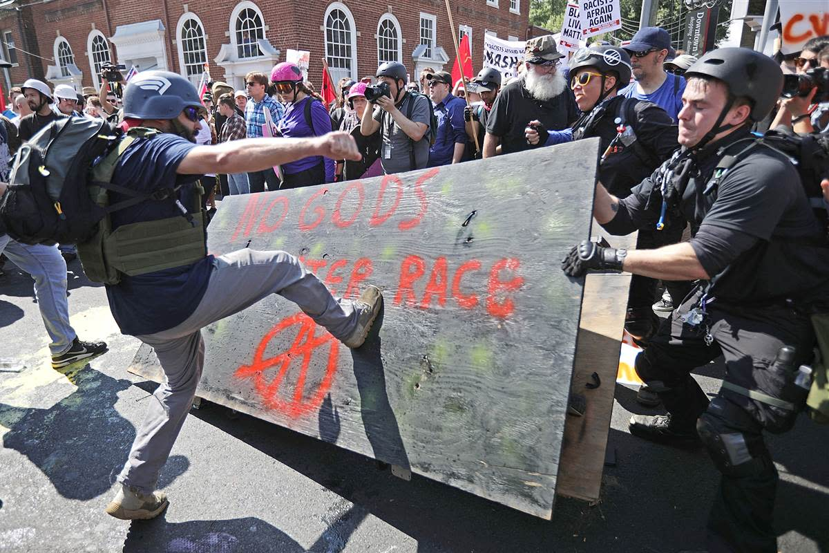 The 2017 Charlottesville battles between Far-Right racists and Antifa extreme leftists highlights the dangerous levels that each side's 'guardian of society' is approaching.  In such conflicts its those caught in the middle who bore the brunt.