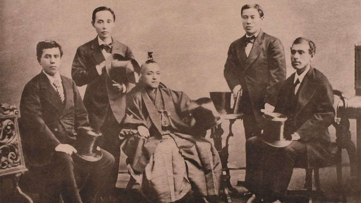 Courtesy of Nippon.com.  In 1871, a seventeen years after Admiral Perry forced its borders to reopen, Japan sent 100 leaders and students, on a world tour to learn abroad Western ways and tech.  The goal was to modernize while maintaining tradition.