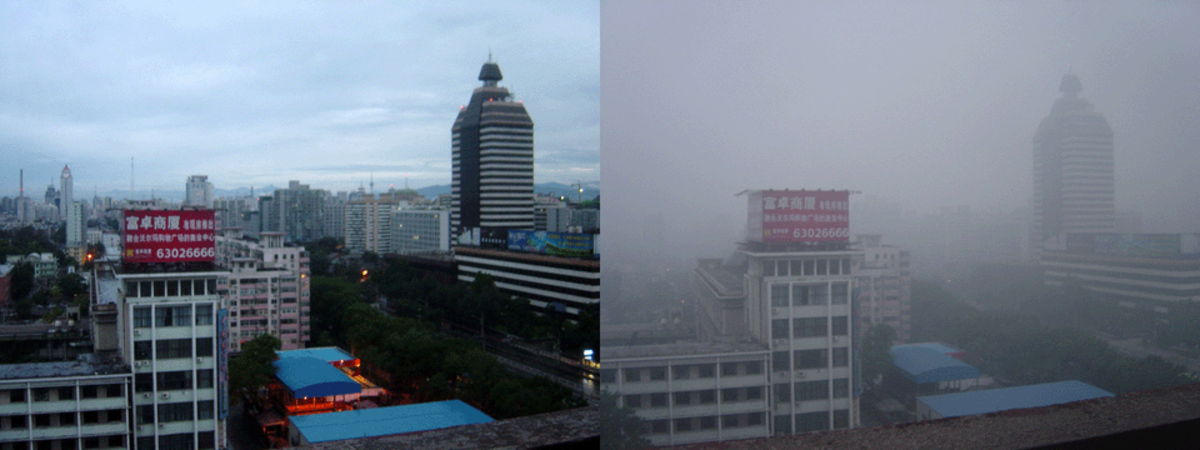 Beijing air on a 2005-day after rain (left) and a smoggy day (right)