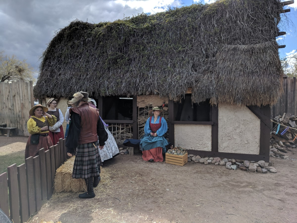 Replica of an 18th century rural peasant home in Scotland.  Part of Exhibit Celtic Re-enactment Organization (CROFT)  at 2019 Renaissance Festival in Apache Junction, AZ