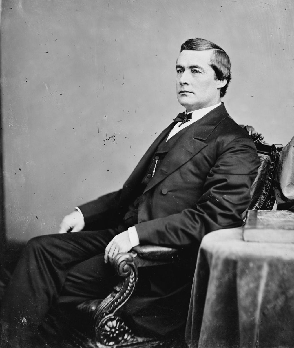 "Kansas State Senator Edmund Ross. His vote against convicting President Andrew Johnson of ""high crimes and misdemeanors"" allowed Johnson to stay in office by the margin of one vote."