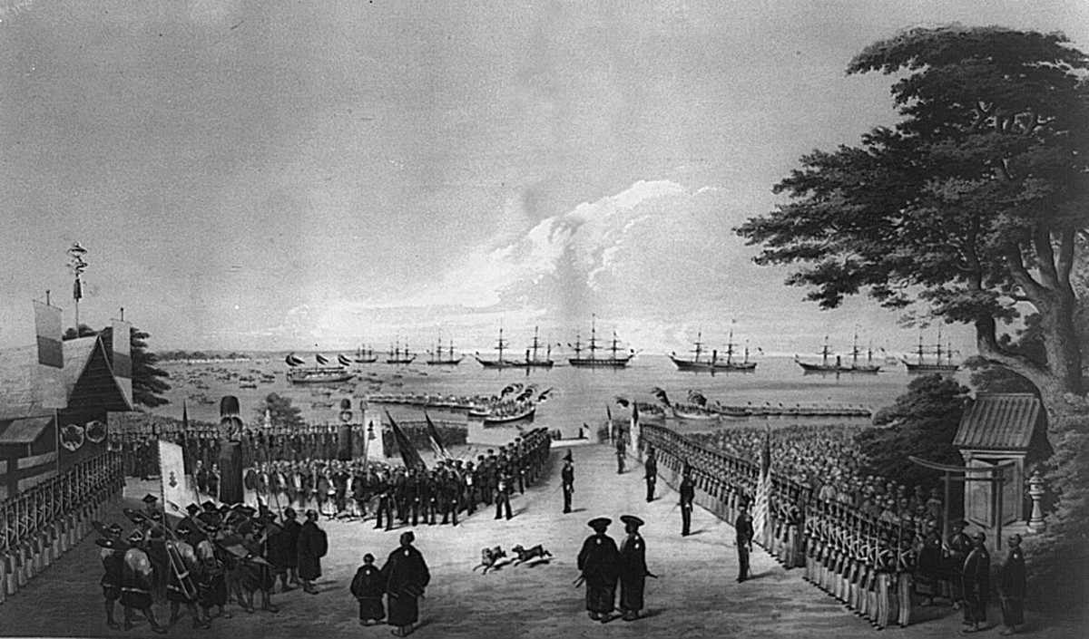 Landing of Commodore Perry, Officers and Men of the Squadron To meet the Imperial Commissioners at Yoku-hama March 8th, 1854.