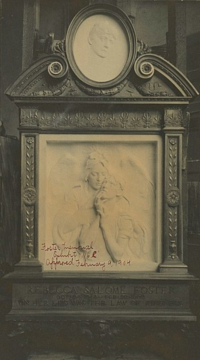 This monument to Rebecca Foster was removed, put in storage and largely forgotten in 1940. It was unearthed, restored, and rededicated in June 2019, although the original bronze frame had gone missing.