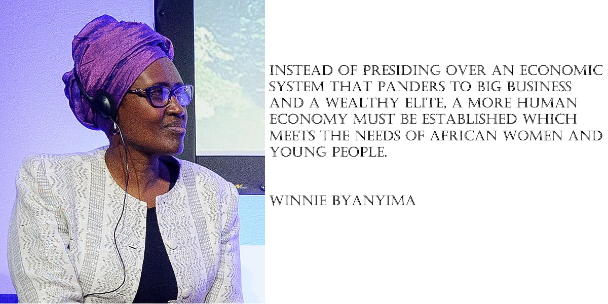 Instead of presiding over an economic system that panders to big business and a wealthy elite, a more human economy must be established which meets the needs of African women and young people.