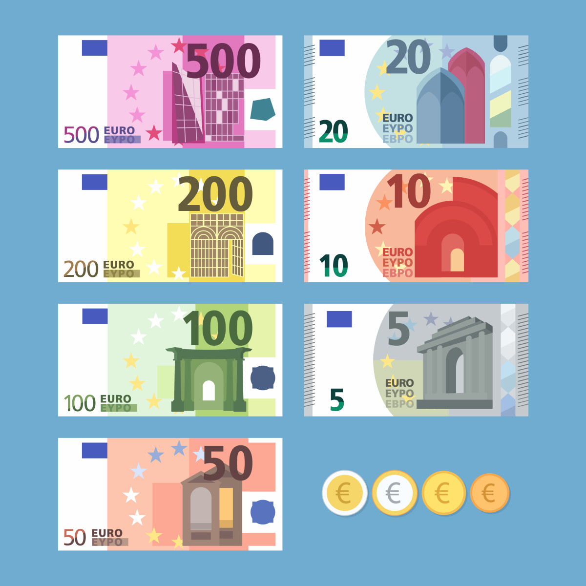 Example of euro bills and coins.