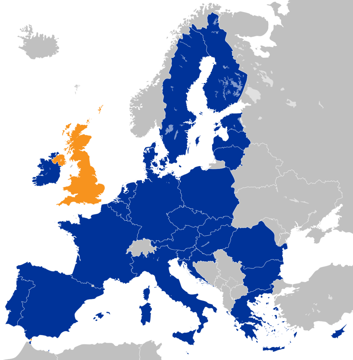 """Map of EU as for Nov. 2019. UK shown orange because of """"brexit""""."""