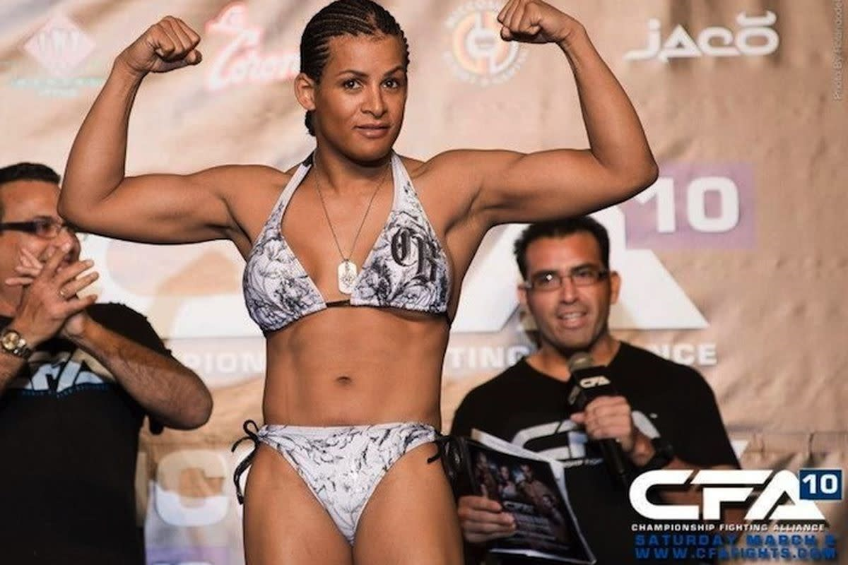 Controversial transgender MMA fighter Fallon Fox during a weigh-in.