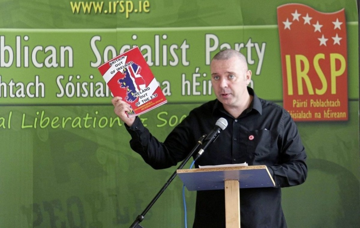 IRSP spokesperson, Ciaran Cunningham, at the launch of a new document opposing Ireland's membership of an EU superstate.