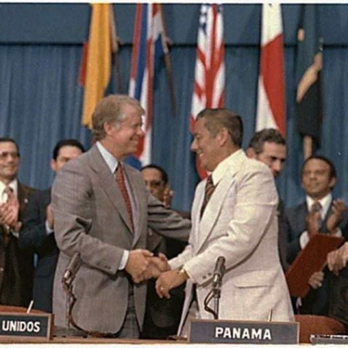 GEN Torrijos and Pres. Carter after signing the new Panama Canal Treaty