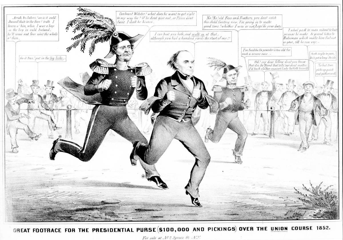 "Cartoon on the presidential election of 1852, showing Winfield Scott, Daniel Webster, and Franklin Pierce competing in a footrace before a crowd of onlookers for a $100,000 prize (the four-year salary for a president) and ""pickings."""