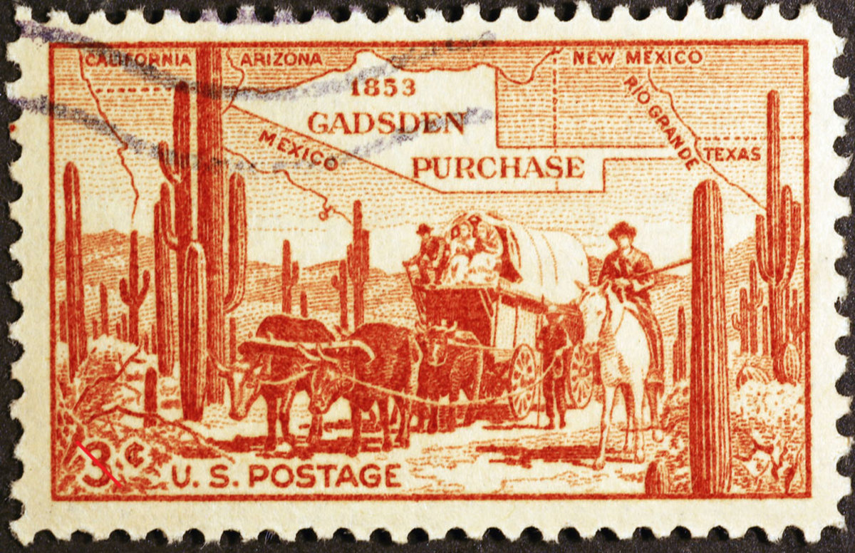 Three cent U.S. postage stamp showing a map of the Gadsden Purchase.