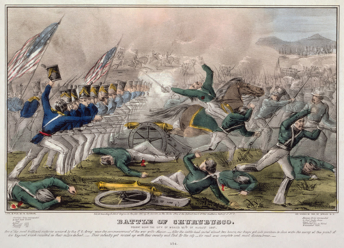 """Battle of Churubusco"" by J. Cameron, published by Nathaniel Currier. One of the last battles of the war in August 20, 1847."