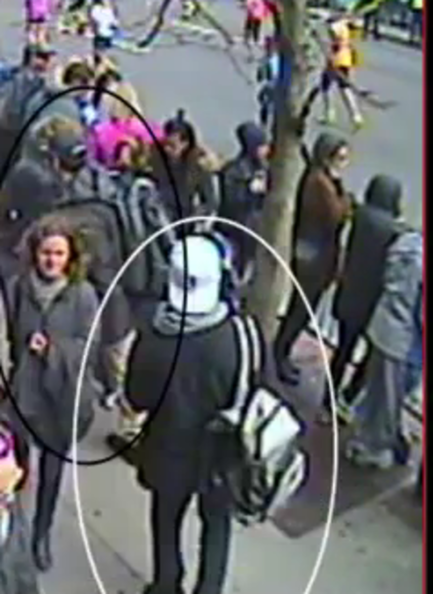 Image of Dzhokhar Tsarnaev backpack from official prosecution surveillance compilation at :33 seconds, posted by Boston NPR affiliate WBUR.