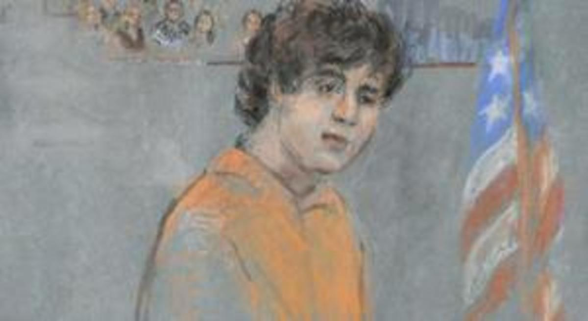 Court artist sketch, 2013, Dzhokhar Tsarnaev at trial