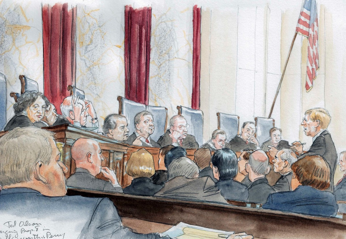 Ted Olson arguing a later case in front of the Court.  No cameras are allowed.
