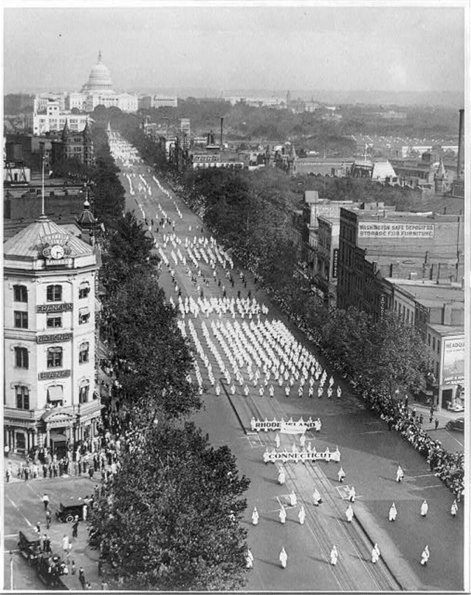 Massive Klan parade down Washington D.C.'s Pennsylvania Avenue, September 1926.