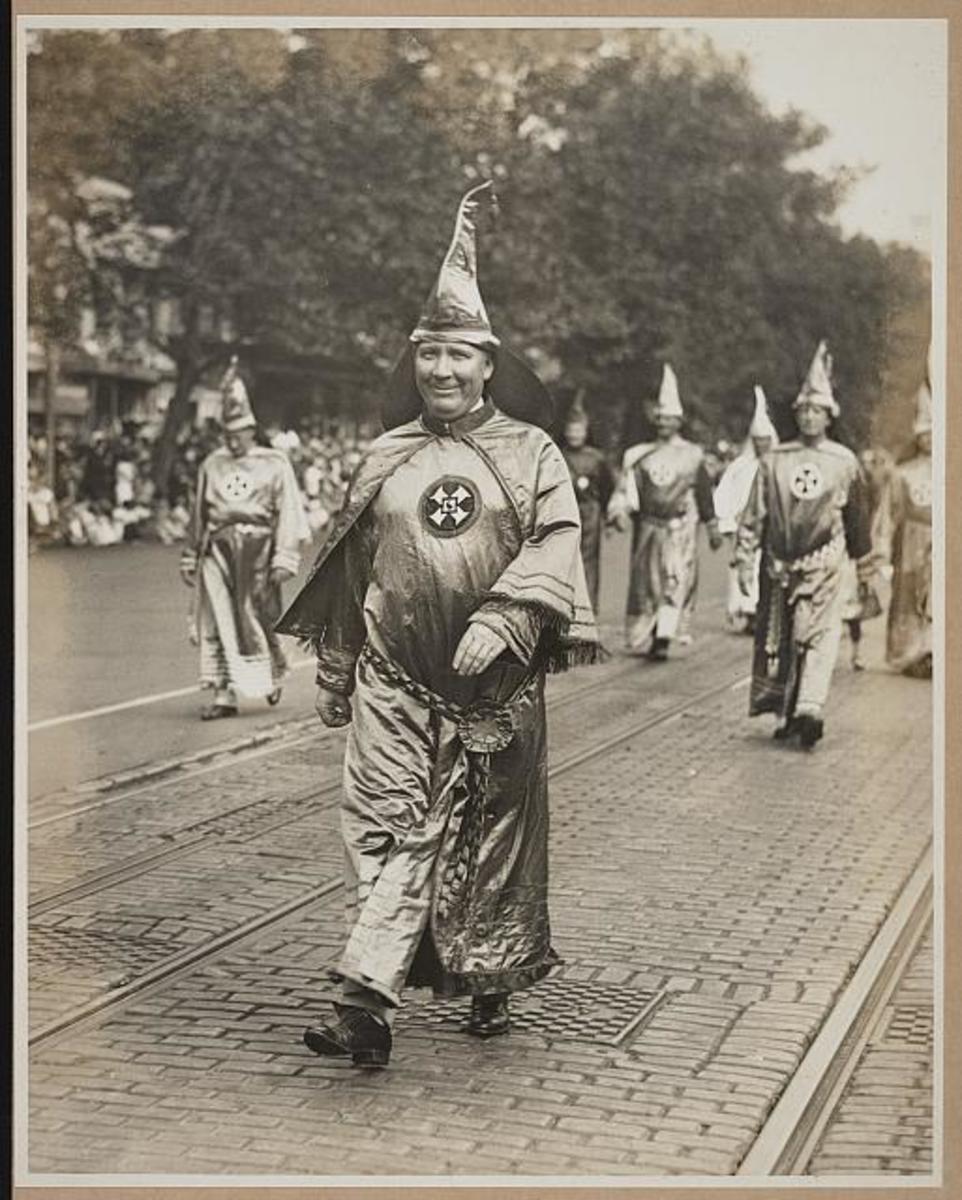 Grand Wizard Dr. Hiram Evans of Alabama leads fellow Klansmen in a march through Washington, D.C. in 1926.