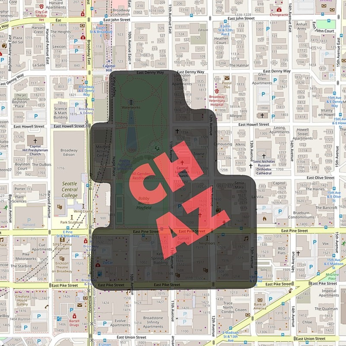 map of the CHAZ on the night of June 10th