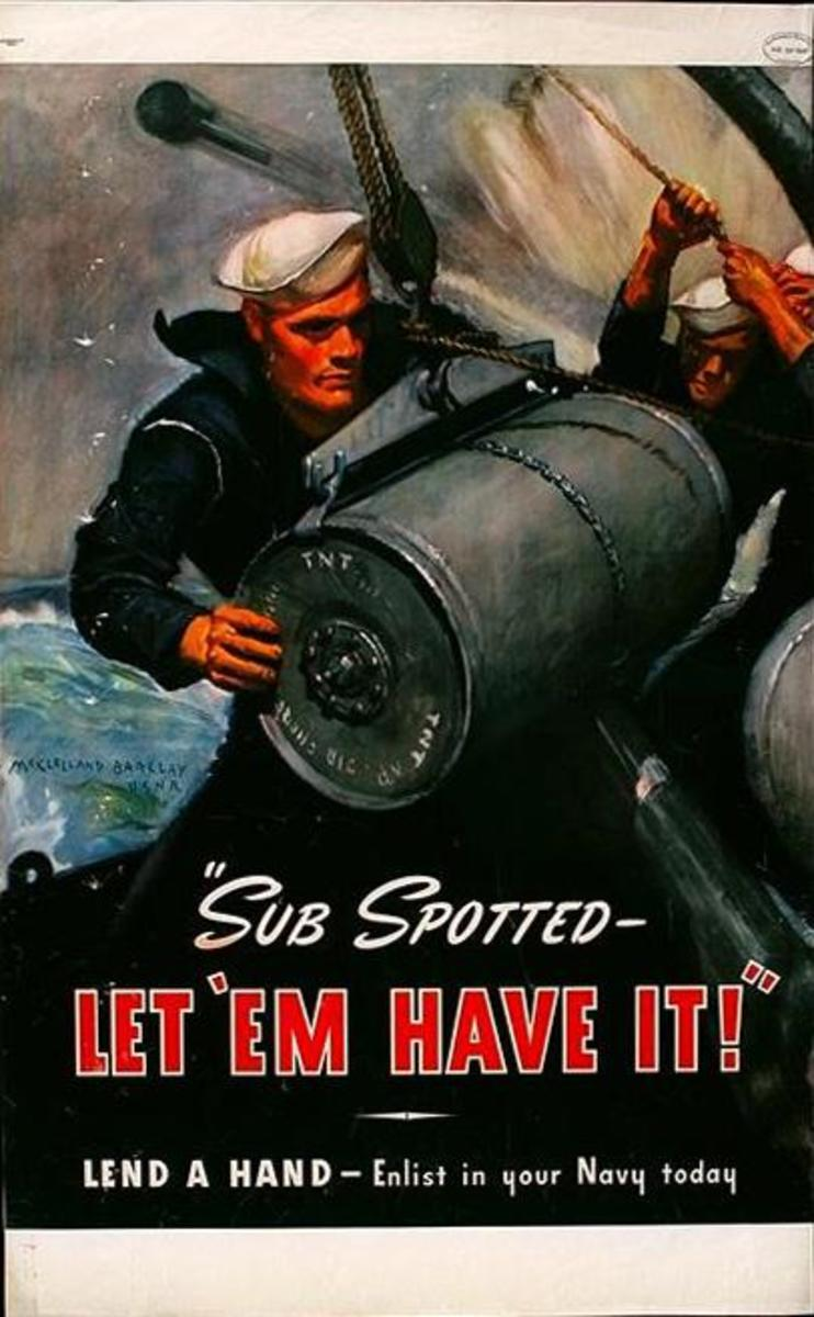 """""""Sub Spotted,"""" poster art by McClelland Barclay, USNR (1942)"""