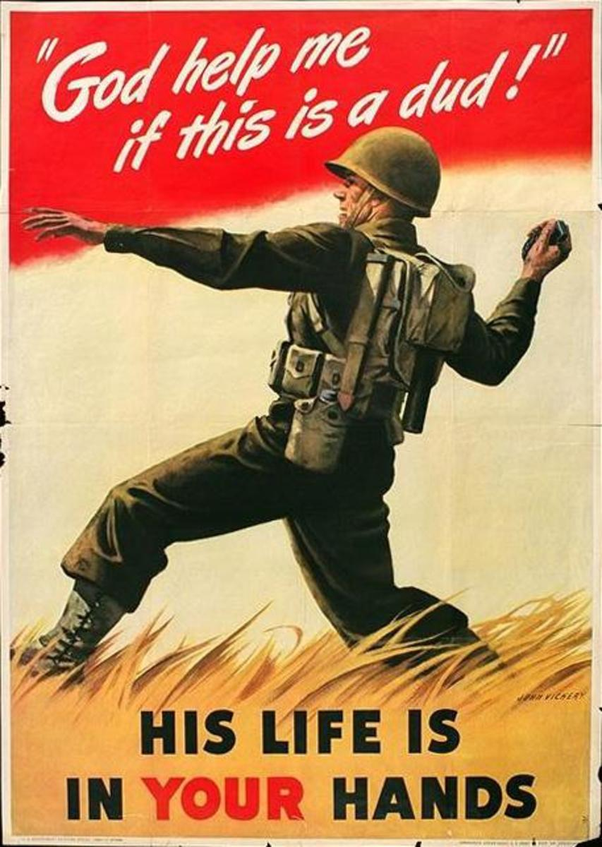 """""""His Life Is in Your Hands,"""" poster art by John Vickery (1942)"""