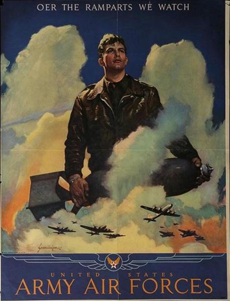 """""""O'er the Ramparts,"""" poster art by Jes Wilhelm Schlaikjer (1944)"""