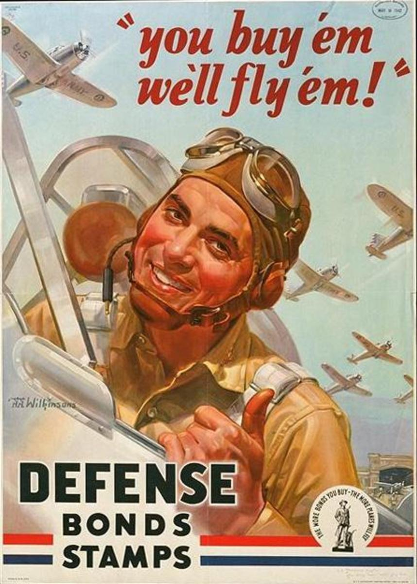 """""""You Buy 'Em, We'll Fly 'Em,"""" poster art by Walter J. and Walter G, Wilkinson (1942)"""
