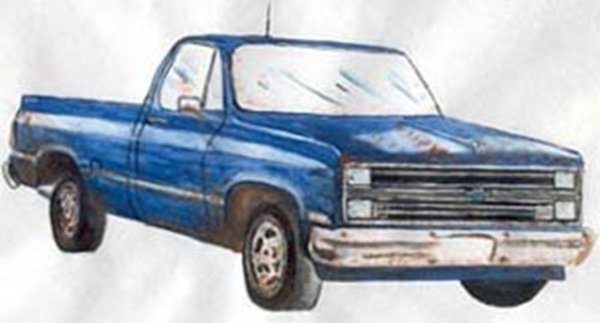 Sketch released by Glendale Police Department of an older model Chevrolet truck with faded blue paint, last seen at the convenience store where Jennifer Lueth and Diana Shawcroft disappeared.