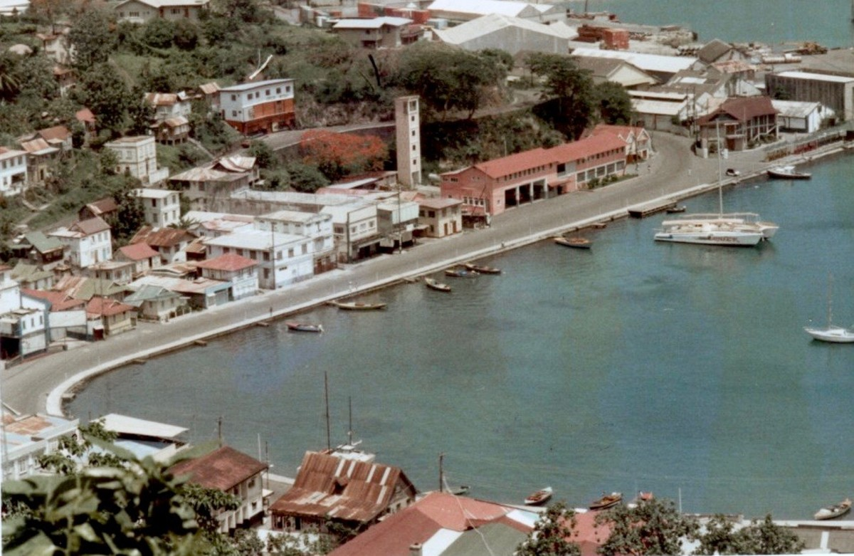 This is the Carenage on a quiet day in 1985—the main business section on the harbor, near where tourist ships were starting to dock again.