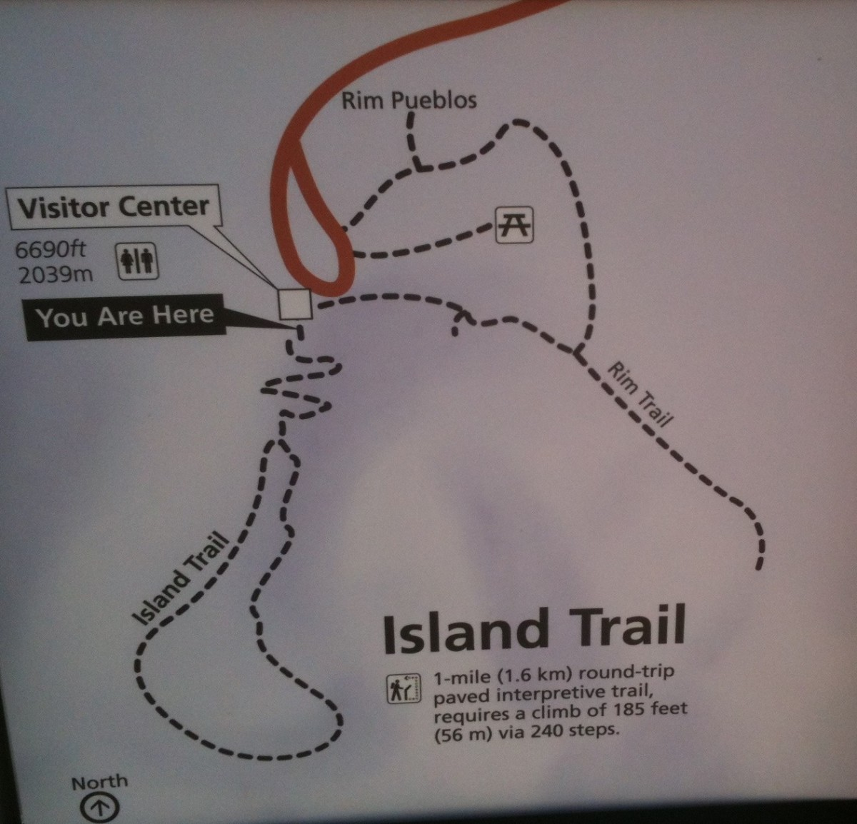 Photo of a map of the Island and Rim Trails
