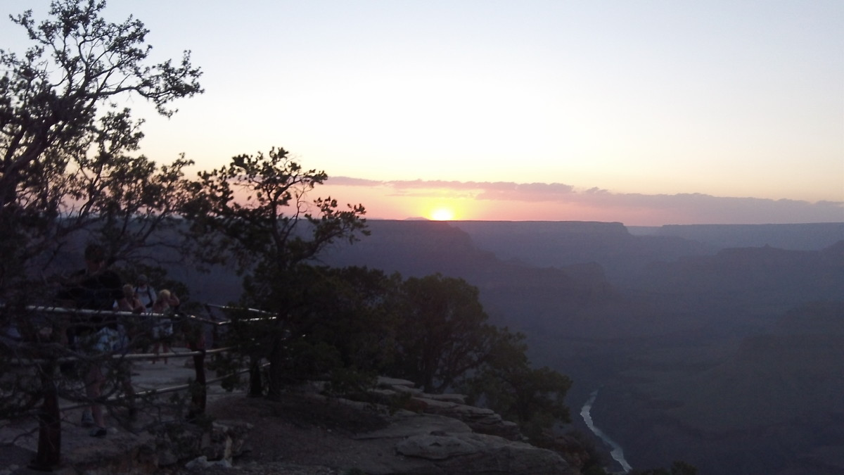 Last rays of sun at the Grand Canyon, Colorado River below.