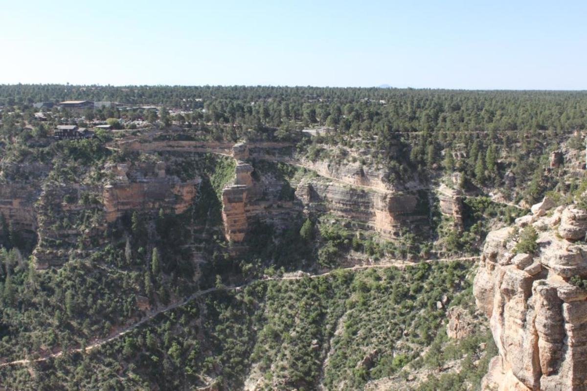 Upper portion of Bright Angel Trail from the south rim as viewed from Trail Overlook