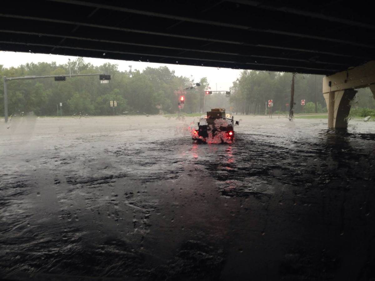Convoying through Houston during Hurricane Harvey