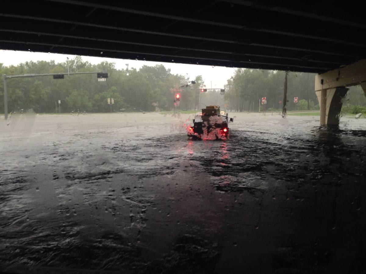 Convoying through Houston during Hurricane Harvey