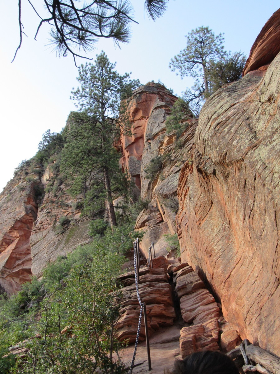 Ferrata (chain-linked) trail leading to the summit of Angels Landing