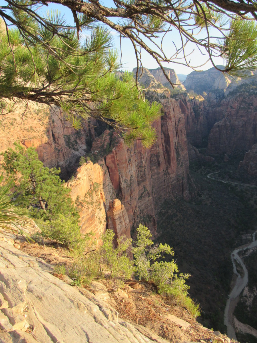 Looking down at Scout Lookout and the Virgin River