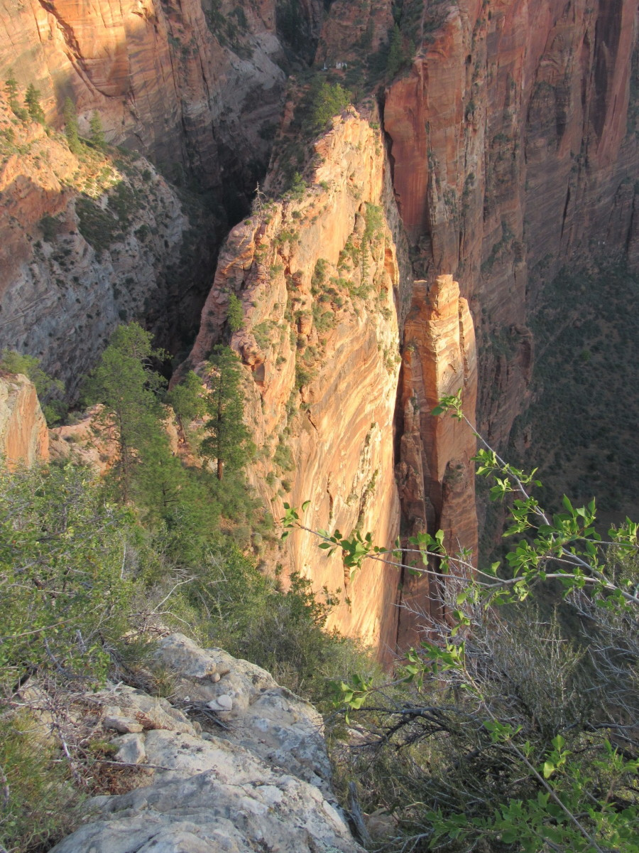 Looking down at Scout Lookout from Angels Landing.