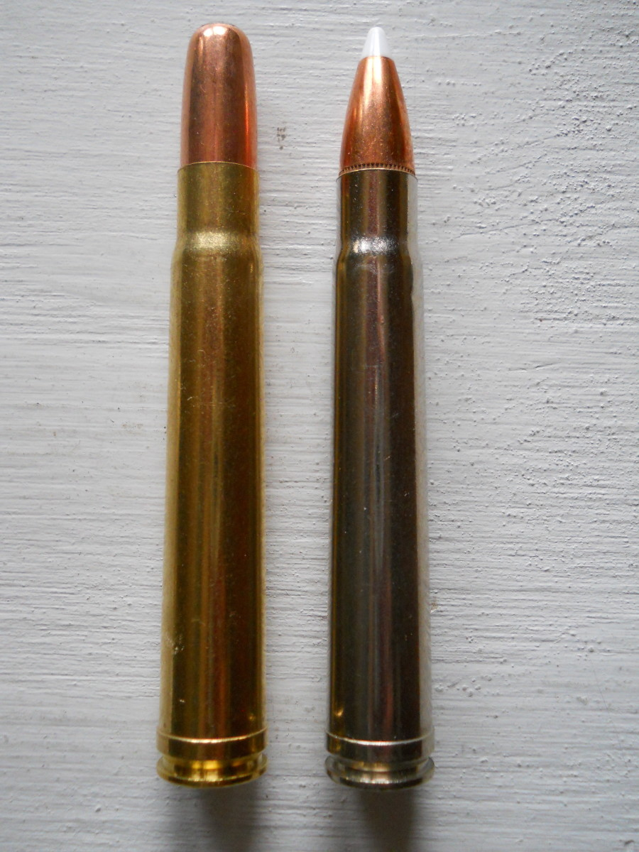.375 H&H cartridges: PPU 300 grain SP RN (L), Federal 260 grain AccuBond (R).  PPU bullet performed similar to the expensive AccuBond in wood penetration test.
