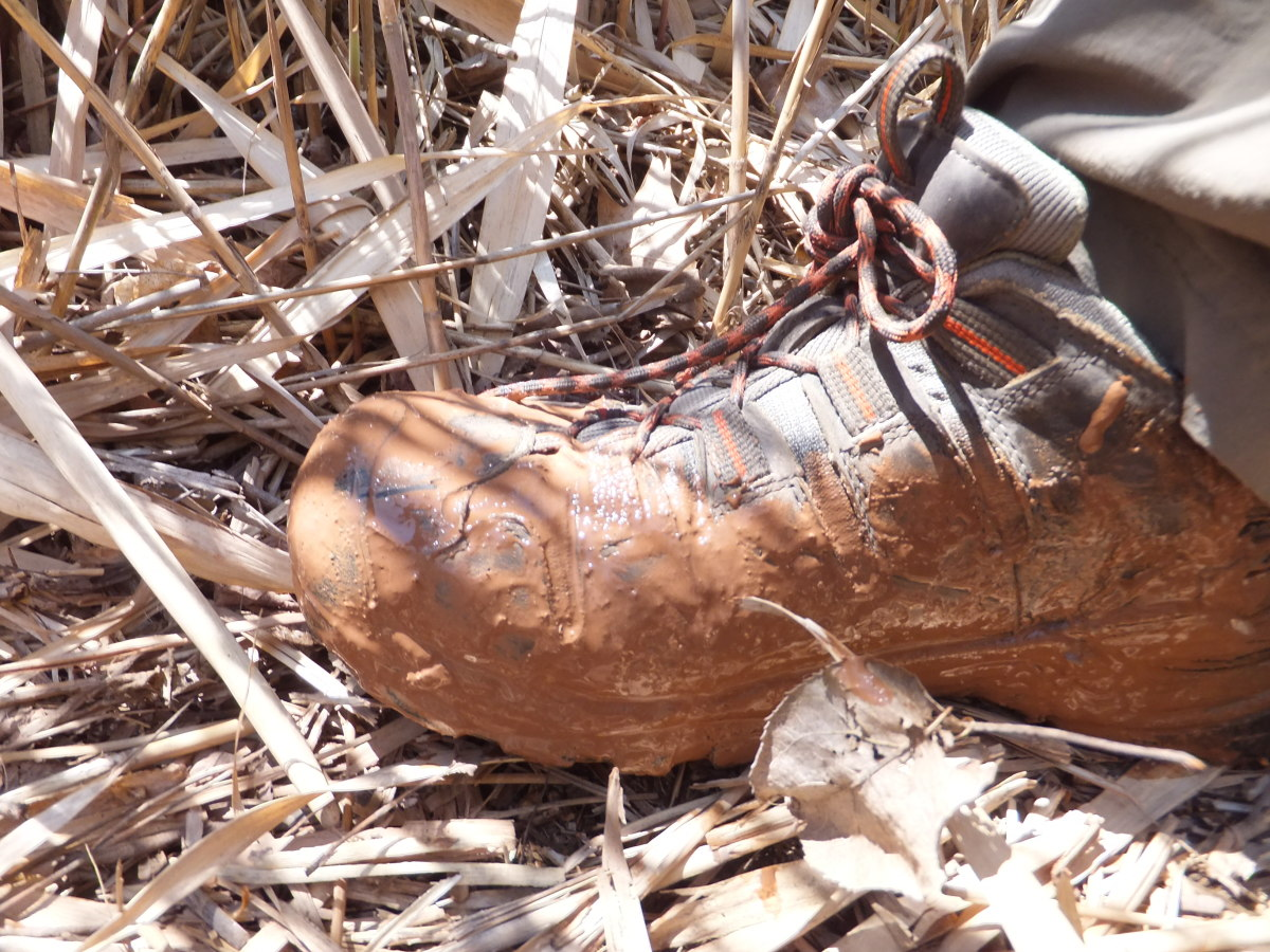 Hiking through wet red clay - don't worry - it washed off.
