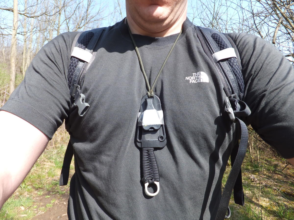 Attach your whistle to the knife sheath easily with a little bit of duct tape.