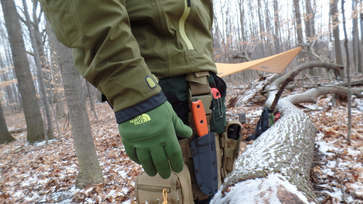 Using a drop leg platform allows the backpacker to carry a sheath knife lower on their thigh.