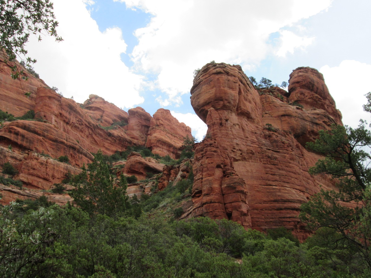 The sandstone walls of Fay Canyon; east wall from trail.
