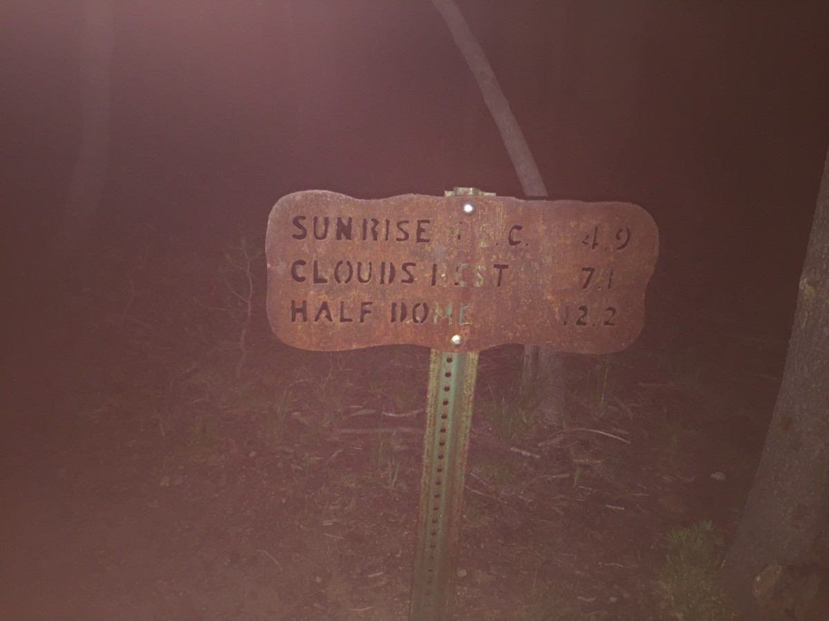 This is the first metal trail sign you'll see.  Still the full 7 miles to go, better get started!