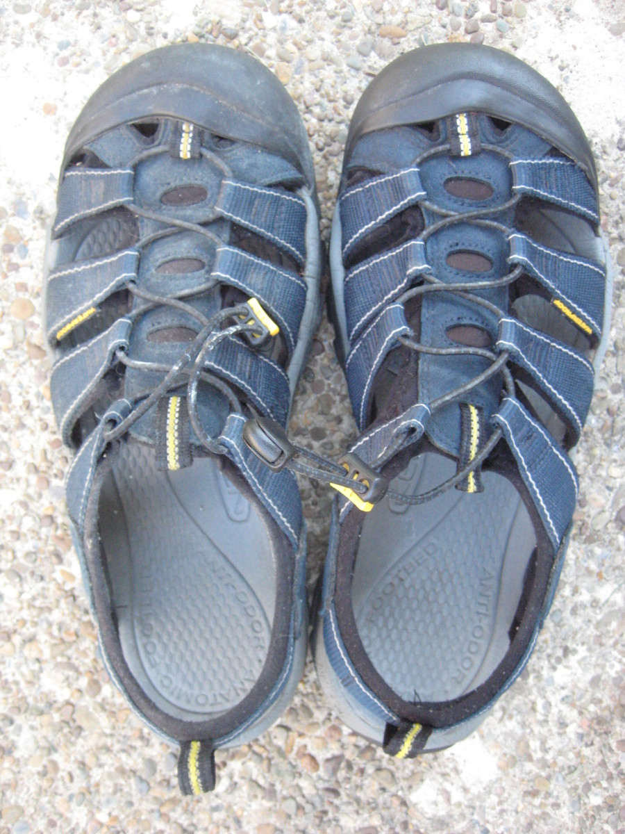 Before and After: The dirty sandal is to the left (with excess dirt removed) the clean Keen is to the right.