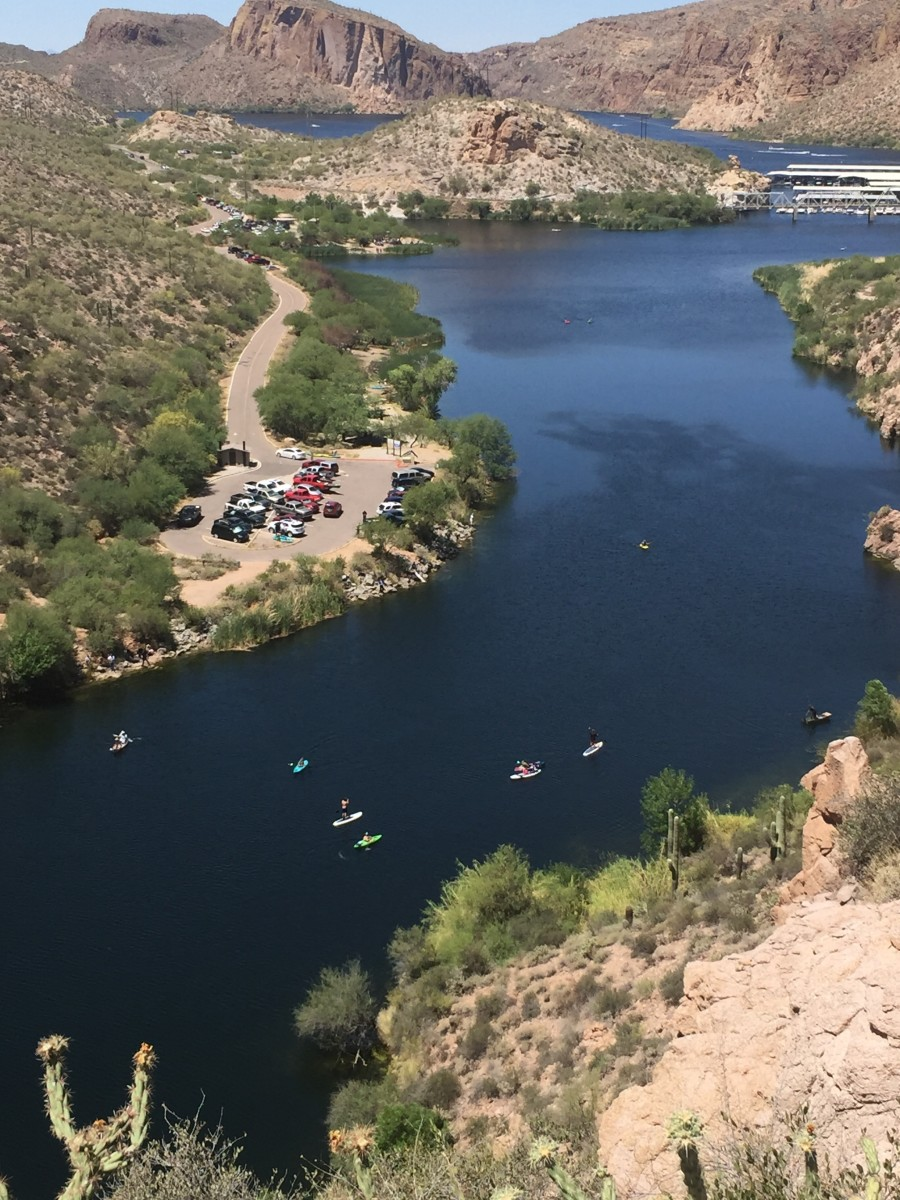 Kayaks  in First Water Creek being paddled toward Canyon Lake (at top of picture)