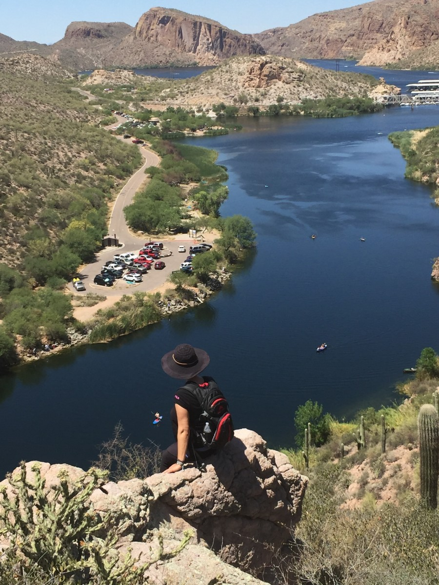 My wife looking down on boats in First Water Creek with Canyon Lake at top.