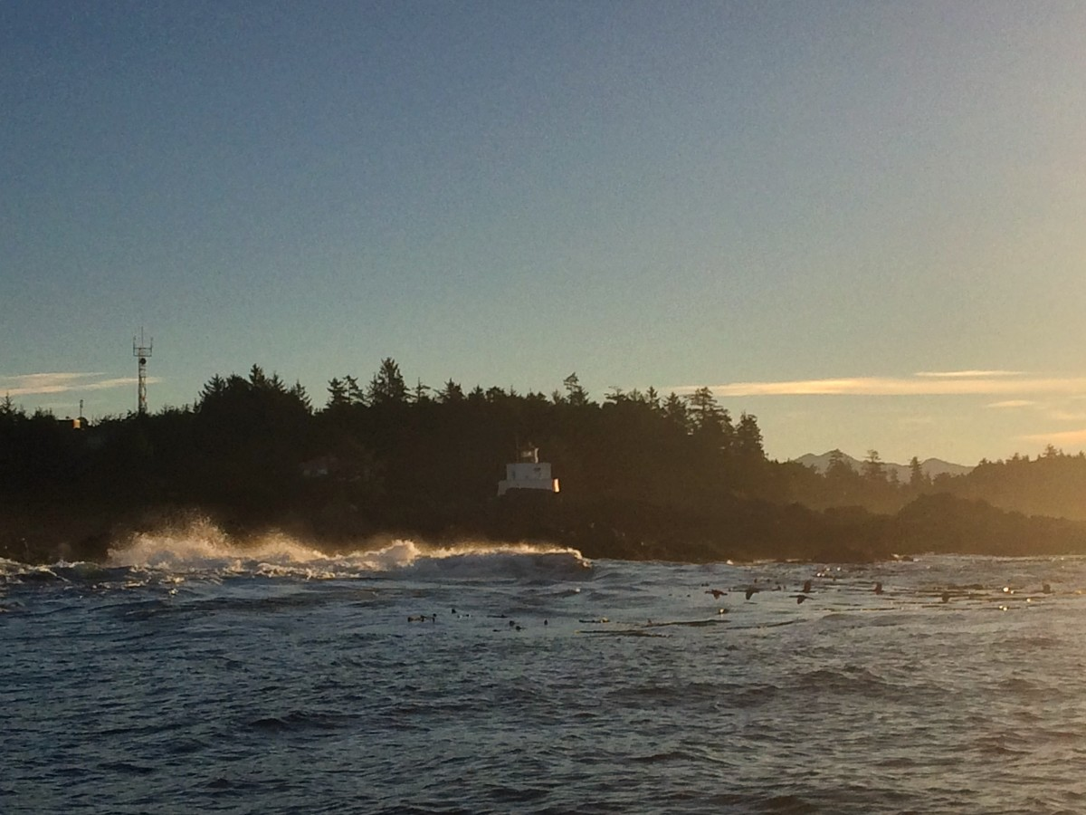 A view of Amphitrite Lighthouse basked in golden light from a fishing boat.