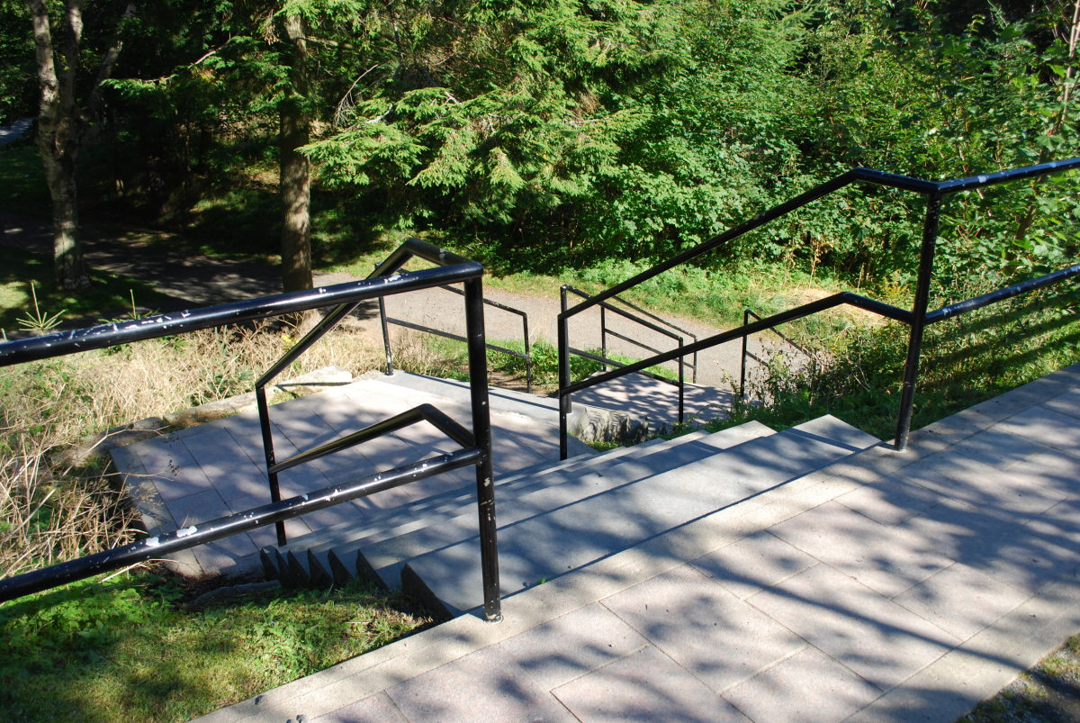 Stairway from the trail to Bowring Park.