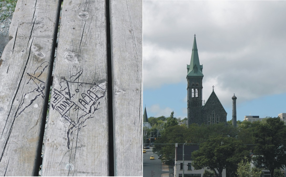The view of St. Patrick's Church from a bench on the trail. Somebody was inspired enough by the view to make a pen sketch of the church on the bench seat.