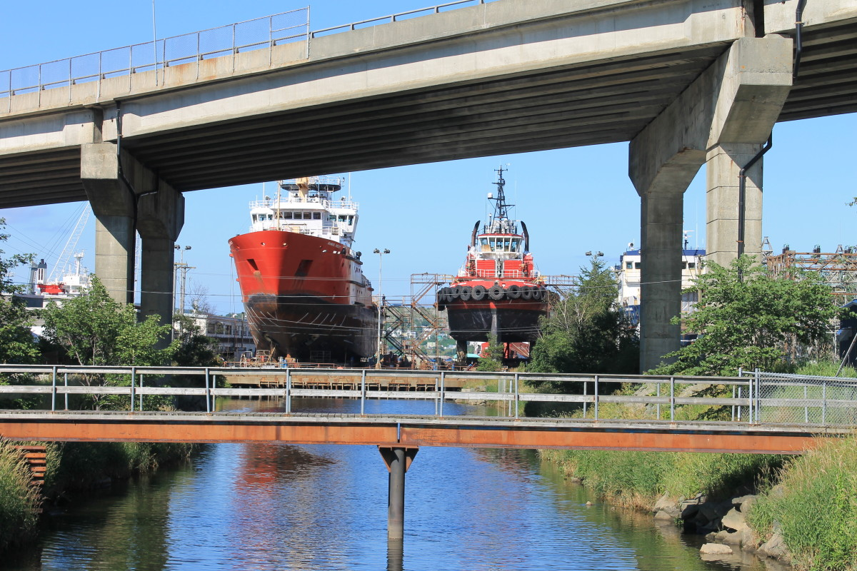 Looking east from the Helen Fogwill Porter footbridge at the St. John's Harbour Dry Dock.